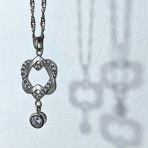 Like-New Infinity Heart Crystal Necklace, 18KGP